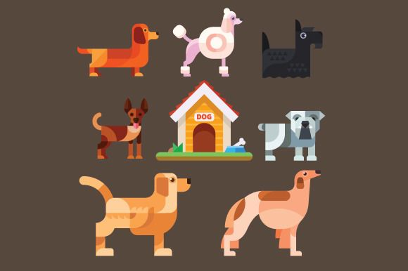 Cute dogs around the kennel. by TastyVector on @creativemarket