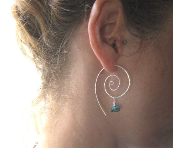 Protect, Amulet Hoops, Sterling Silver Swirl Hoop Earrings, Earthy Organic Hoops via Etsy