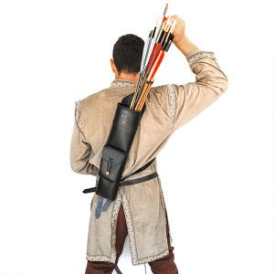 Leather Archery Back Quiver ($50.00) You have your bow, you have your arrows but where to put them….The Leather Archery Back Quiver answers all your problems! These Genuine Leather Quivers come in Black or brown to match other accessories and are made of soft leather.  These Leather Archery Back Quiver can hold up to around 40 arrows(Depending on the size of the Tips) and are easily adjustable to fit the smallest lady or the biggest man.