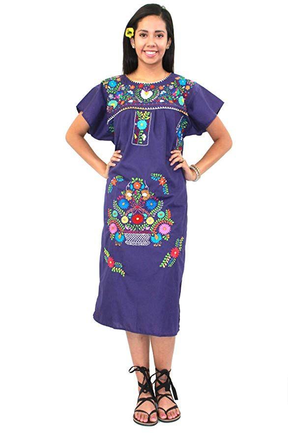 143cf9d7e Leos Imports Mexican Dress Puebla Hand Embroidered (Purple, Medium ...