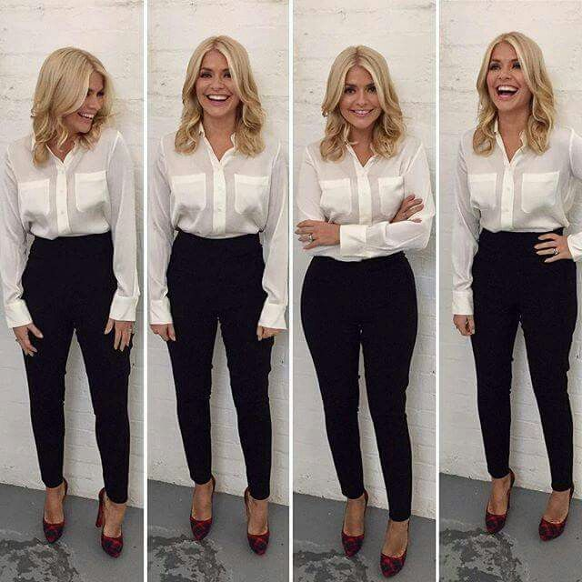 Holly Willoughby wearing the Winser London 'The Tilda' - Silk Shirt.