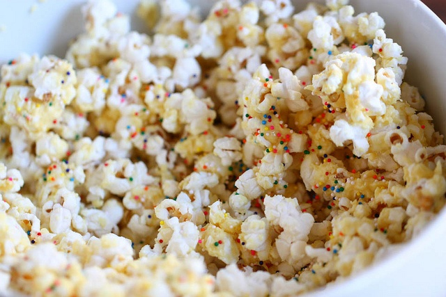 Birthday Cake Batter Popcorn from Pioneer Woman heath we have got to