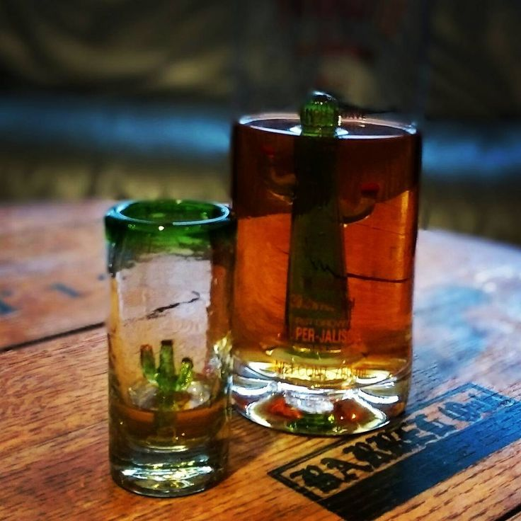 Porfidio Anejo with cactus shot glass