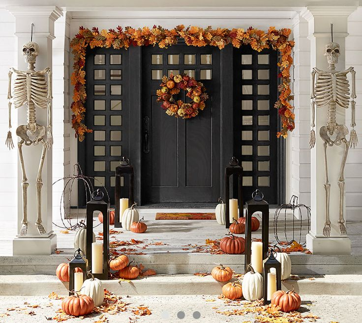 how to decorate fall front doors pottery barn halloween - Pottery Barn Halloween Decorations