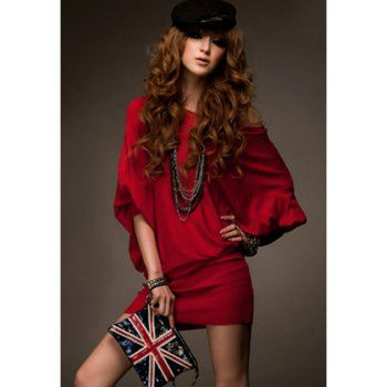 Casual Loose Red Color Batwing Sleeve Cotton Women's Dress, RED, ONE SIZE in Casual Dresses | DressLily.com