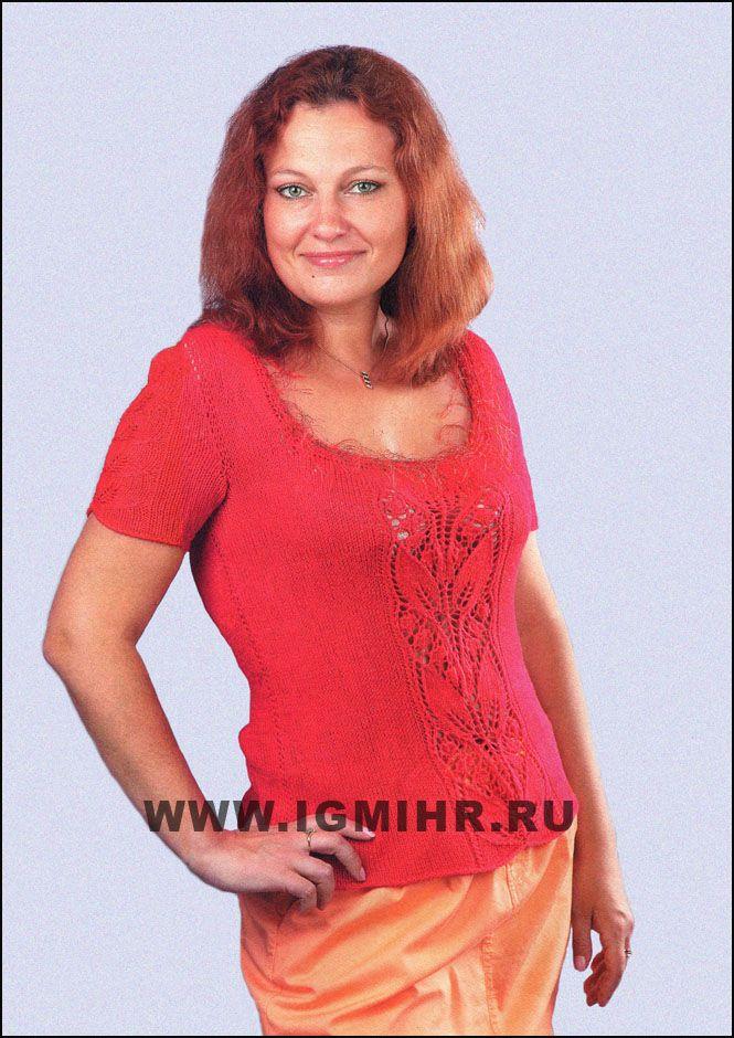 """Красный пуловер с красивым узором из """"листьев"""" для пышных дам. Спицы"""