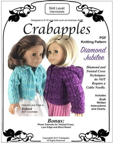 Crabapples Frilled Cardigan Doll Clothes Knitting Pattern 18 inch American Girl Dolls | Pixie Faire