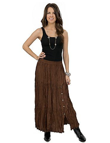 Crazy Cowgirl Women's Chocolate Long Broomstick Skirt
