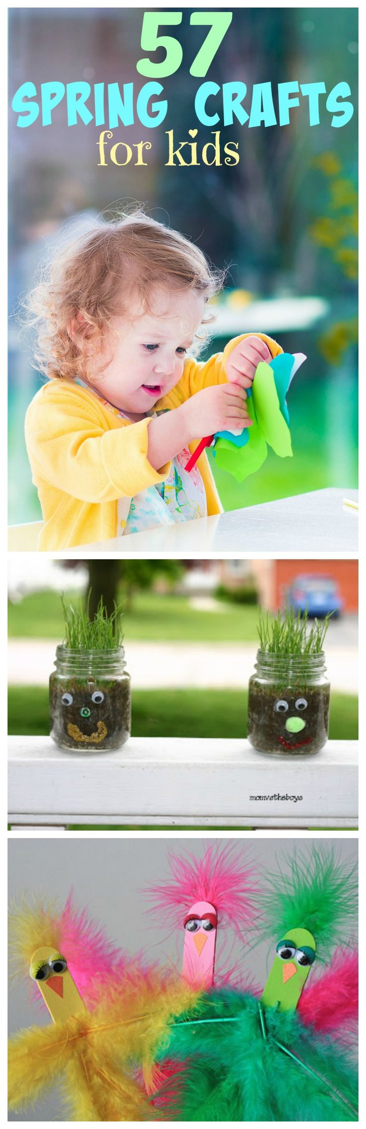 Spring Craft for Kids:  I love this list of Easy Craft Ideas For Kids!  Perfect for fun afternoons!  | Dollar Store Crafts | Spring Craft Ideas | Spring Crafts For Kids | Kids Crafts