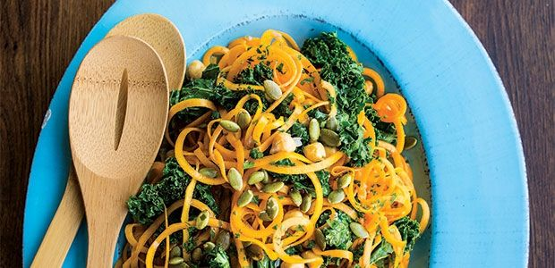 Butternut Squash Noodles with Kale, Chickpeas, and Pumpkin Seeds Recipe   alive