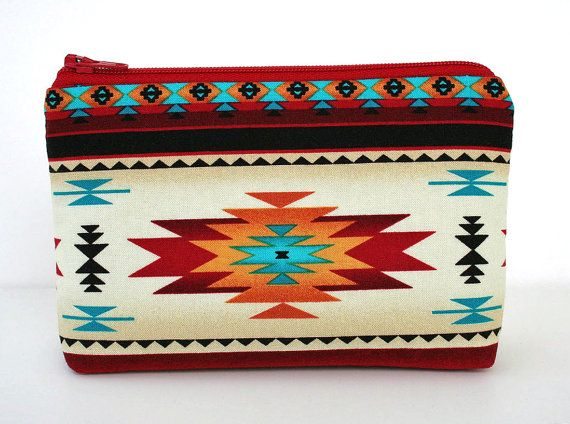 Small Makeup Bag Southwestern Navajo Fabric Gadget by ThreadWest