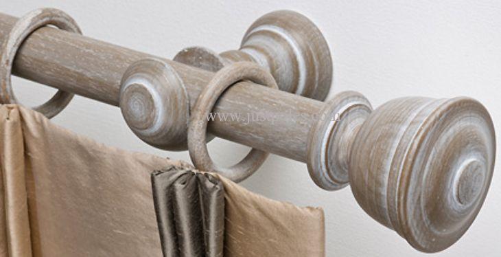 Byron & Byron Barnwood 35mm & 45mm Wood Curtain Pole Austell, Barnwood White