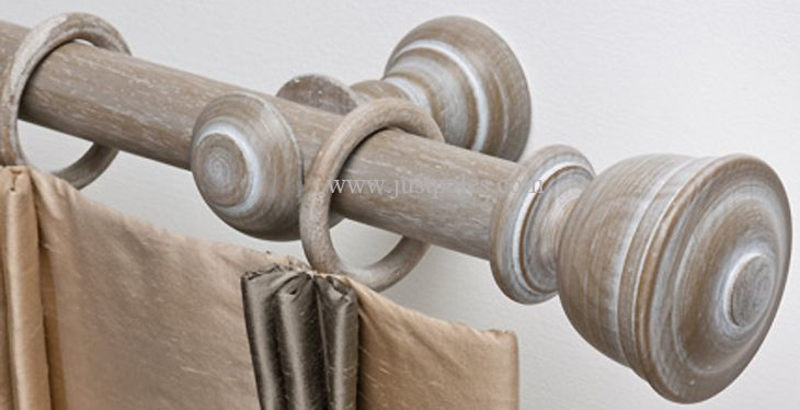 Byron & Byron Barnwood 35mm & 45mm Wood Curtain Pole Austell, Barnwood White