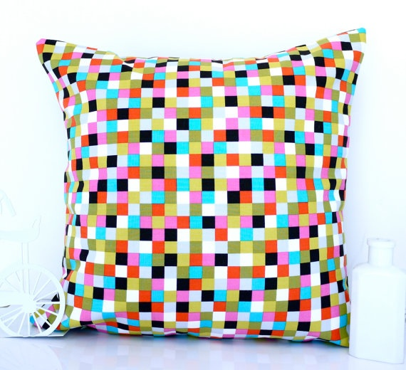 Cute, modern, & colorful:    Geometric cushion geometric pillow multicolor by HenriettaAndMorty, $29.95
