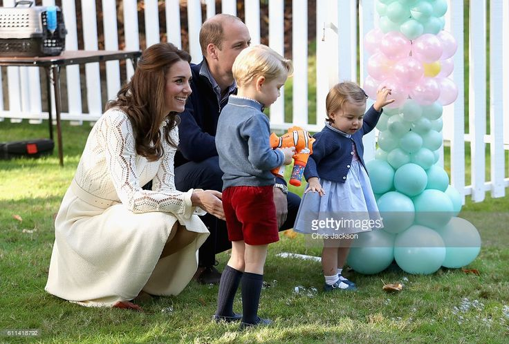 Catherine, Duchess of Cambridge, Princess Charlotte of Cambridge and Prince George of Cambridge, Prince William, Duke of Cambridge at a children's party for Military families during the Royal Tour of Canada on September 29, 2016 in Victoria, Canada. Prince William, Duke of Cambridge, Catherine, Duchess of Cambridge, Prince George and Princess Charlotte are visiting Canada as part of an eight day visit to the country taking in areas such as Bella Bella, Whitehorse and Kelowna  (Photo by…