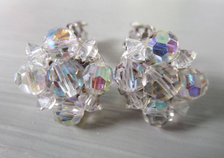 Aurora Borealis Bead Clip On Earrings, Vintage Faceted Crystal, Irridescent Rainbow Effect, Classic English 1950's, Excellent Condition by BlackSquirrelHome on Etsy https://www.etsy.com/uk/listing/465648939/aurora-borealis-bead-clip-on-earrings