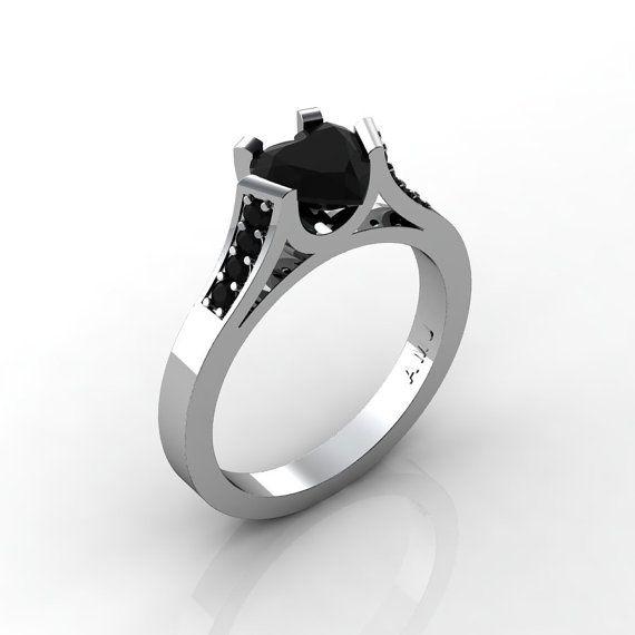 Hermosa 14K oro blanco 10 Ct corazón negro por DesignMasters