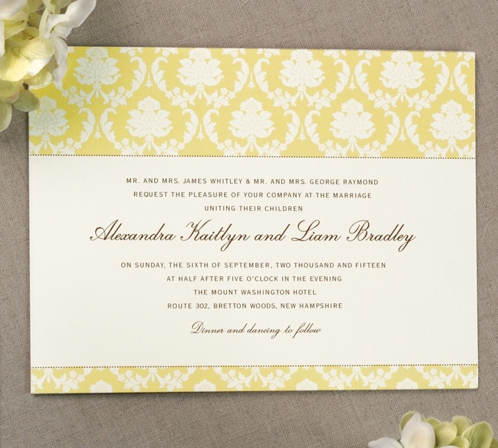 Buttercup Yellow Damask Warm White Wedding Invitations, Truly By William  Arthur
