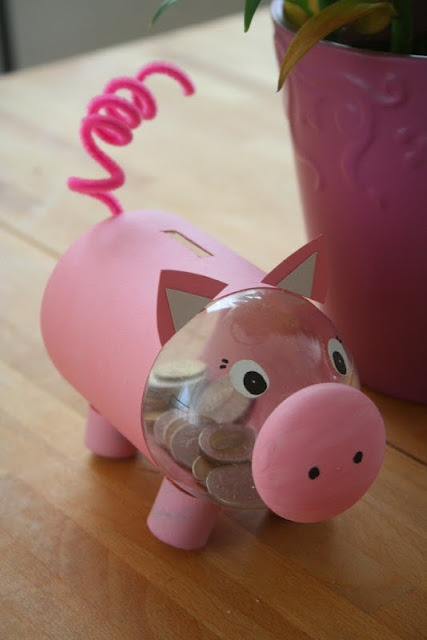 Money pink piggy take a look at the link blog cause it for Make a piggy bank craft
