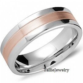 Mens 14K White And Rose Gold Wedding Band Ring By
