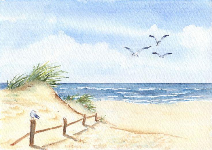 Original watercolor, beach, North Sea, 17×24