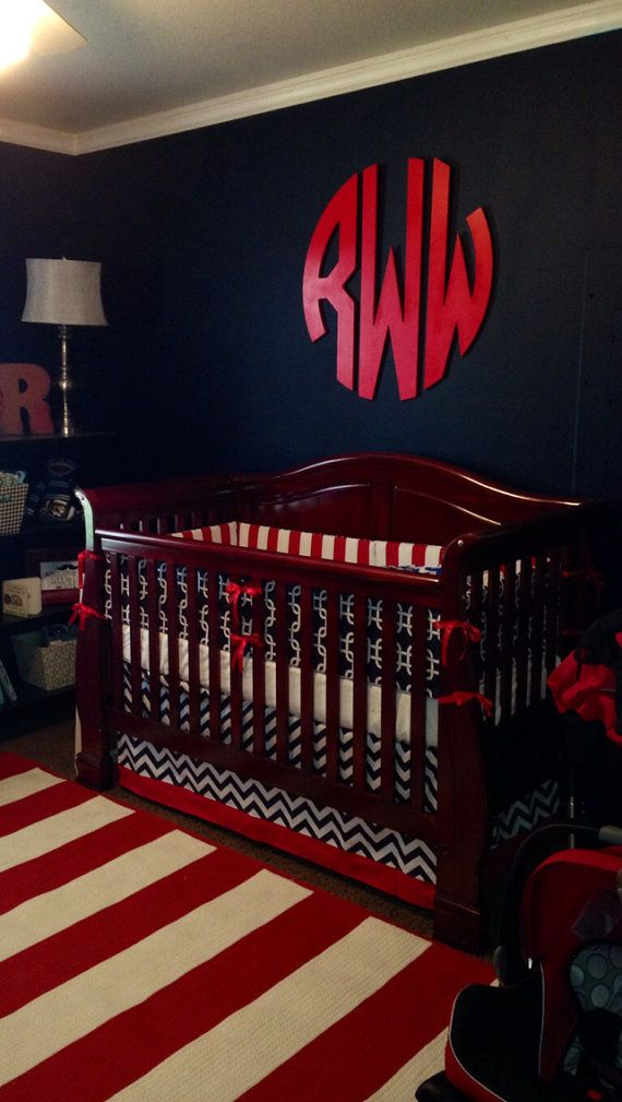 Crib bedding Baby Bedding Crib Set- nautical navy gotcha and red on Etsy, $275.00