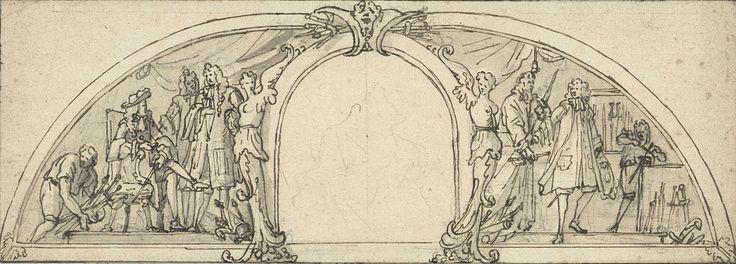 Bernard Picart | Studie voor een vignet voor een boek over het schermen (?), Bernard Picart, 1683 - 1733 | Ontwerp voor een prent.