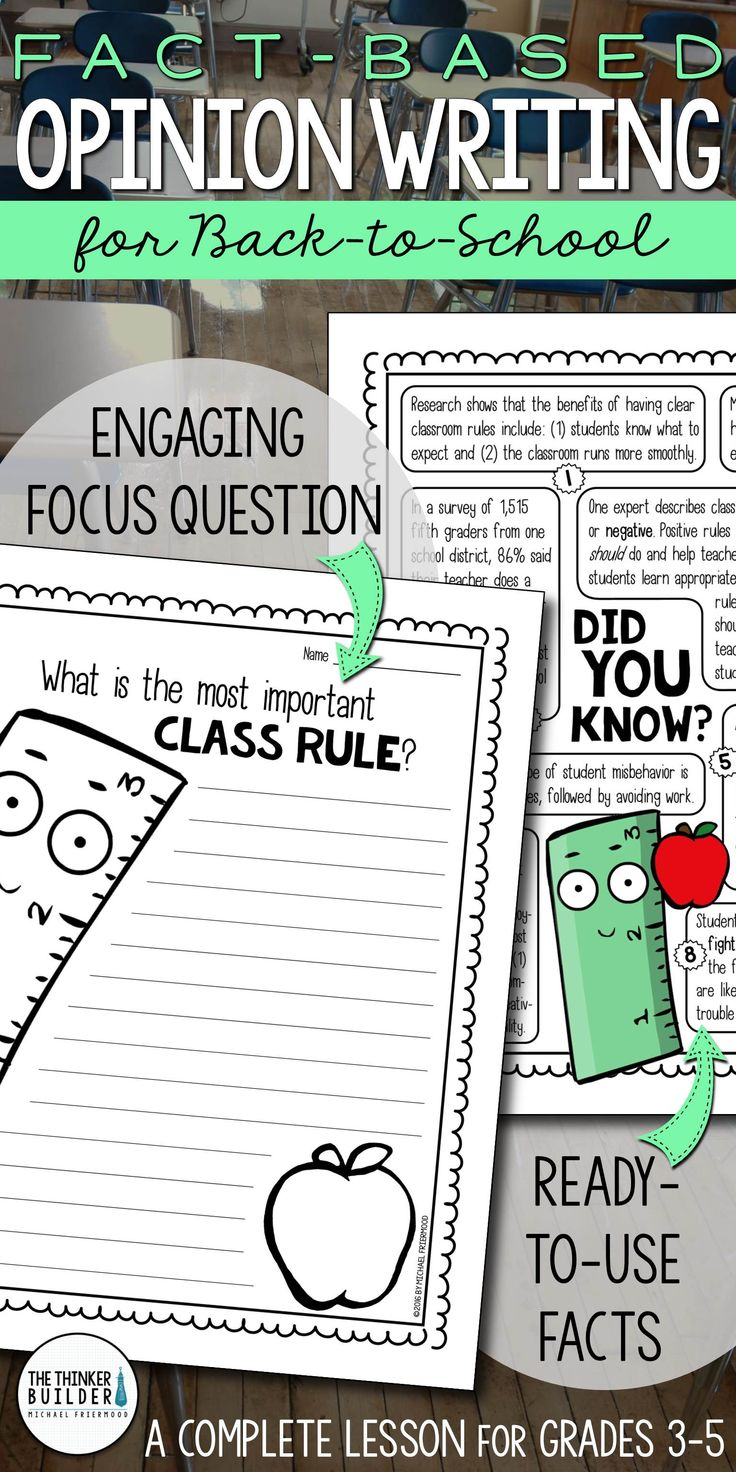 """Opinion Writing for back to school, with carefully chosen facts included for students to analyze, discuss, and use to support their opinion to an engaging focus question: """"What is the most important class rule?"""" Complete with lesson plan, printables, and extensions. Gr 3-5 ($)."""