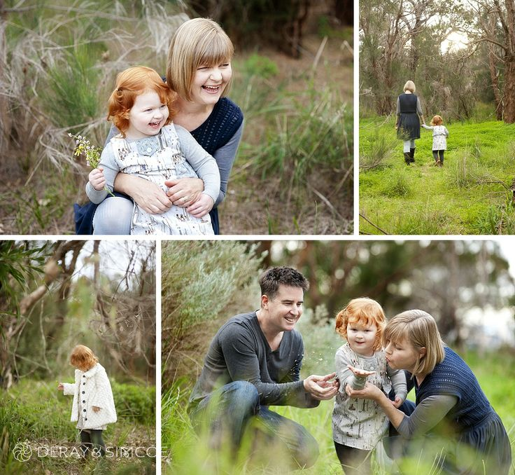 What to wear to a family portrait? Navy, grey and off white create a fresh look against the long winter grass. Adorable little red headed toddler in a fur coat! Photography by DeRay & Simcoe