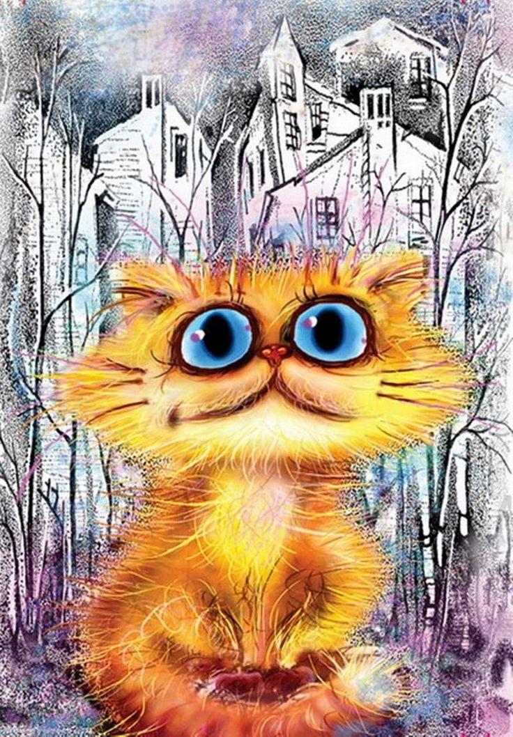 Прикольные рисунки коты кошки