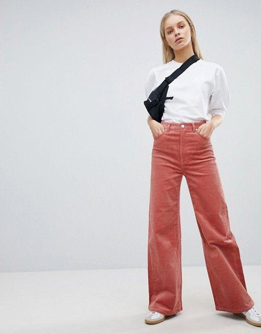 bbd2da0aba9209 Weekday Cord Wide Leg Pants in 2019 | SS 2018 | Wide trousers, Wide ...