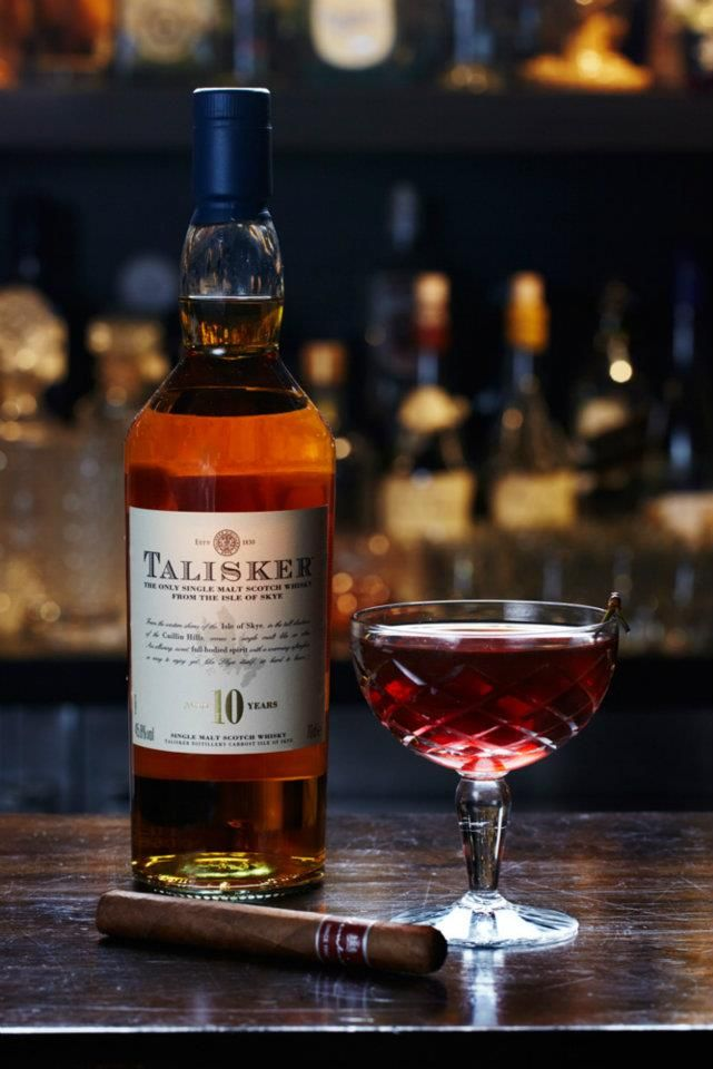 The Smoky Rob Roy, Eau de Vie. [A fierce mix of Talisker single malt, cigar infused Zacapa rum and Lagavulin whisky with sweet vermouth and orange bitters.]