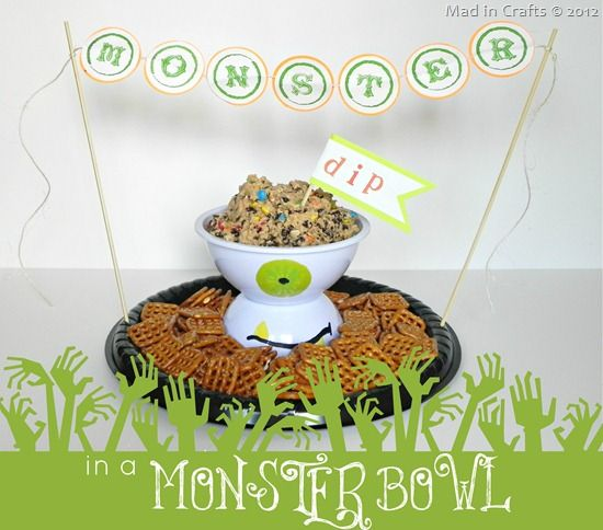 Monster Dip in a Monster Bowl (a Halloween Snack and Craft) - Mad in Crafts