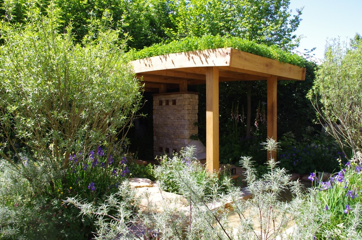 Open Sided Flat Roof Gazebo With Green Roof In 2019