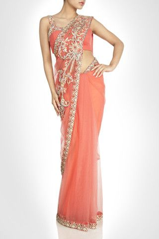 Peach color net saree – Panache Haute Couture