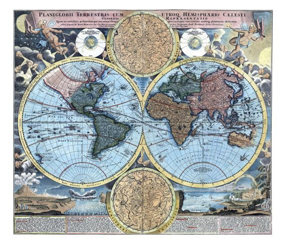23 mejores imgenes de vintage map downloads etsy en pinterest early 1700s antique world map digital by papertimemachine on etsy gumiabroncs Images