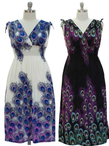 Plus Size Peacock Print Smocked Maxi Dress. Starting at $15 on Tophatter.com!
