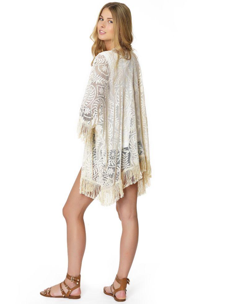 Regalinas fringed kimono in lace