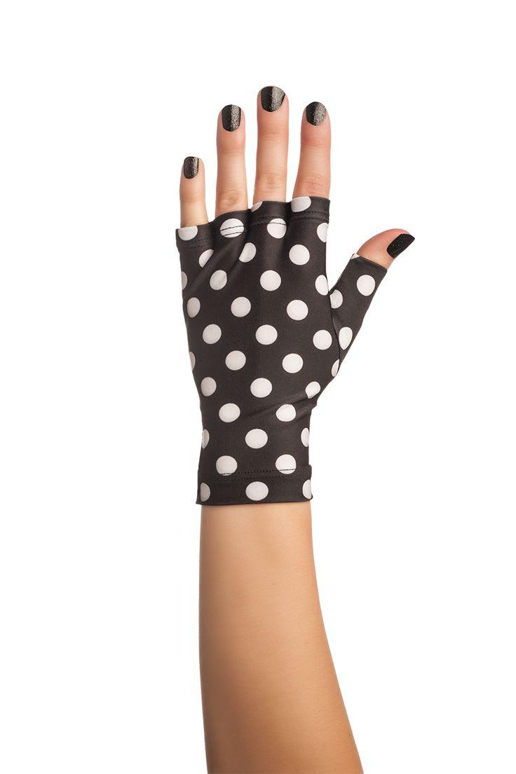 Fingerless gloves for sun protection - Black Polka Dot Solfingerless Sun Glovesrock Nailsnail Accessoriessun Protectionfingerless
