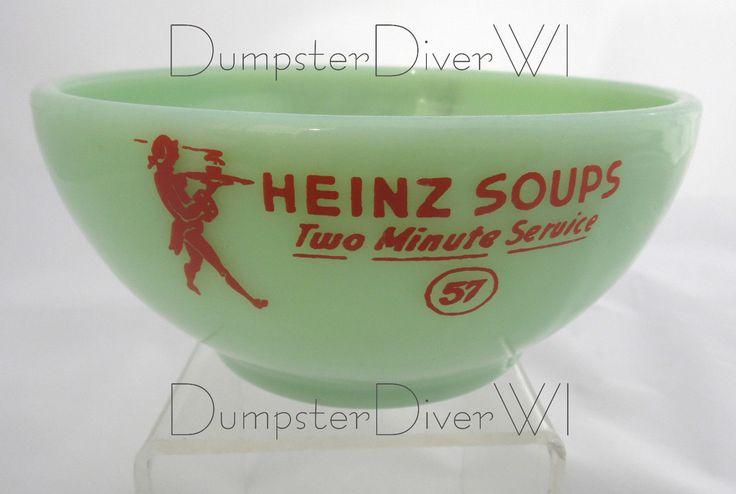 Rare Heinz 57 Soup two minute service bowl jadite jadeite Fire King 40s 1950s in Objets de collection, Publicité, Aliments & boissons | eBay