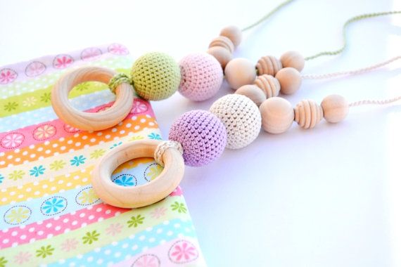 Baby Colors Nursing Necklace - Newborn Girl Boy Teething Necklace with Wooden Ring - New Dad and Mom Gift - Nursing Necklace Made in USA