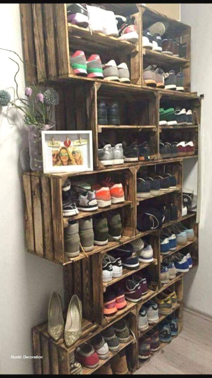 Rustic Diy Storage Ideas In 2020 Wood Shoe Rack Diy Shoe Storage Diy Closet
