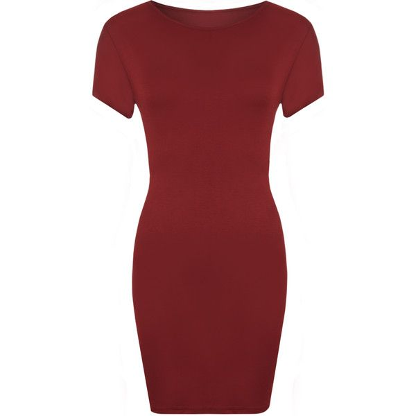 Luella Bodycon T-Shirt Dress ($12) ❤ liked on Polyvore featuring dresses, wine, scoop neck t shirt dress, tee shirt dress, red t shirt dress, bodycon dress and viscose dress