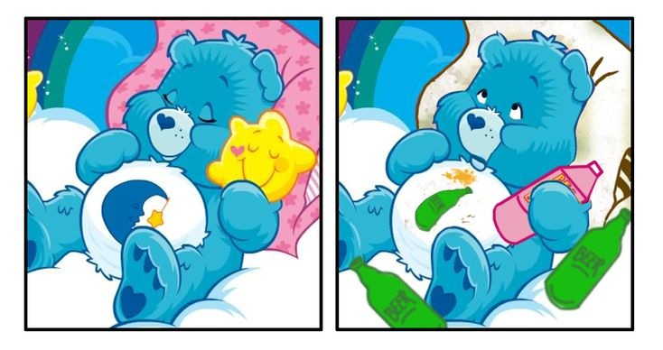 Bedtime Bear turned into Hungover Bear. | If The Care Bears Were Twentysomethings