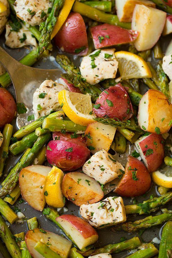 Lemon Chicken Asparagus and Potato Sheet Pan Dinner | Cooking Classy