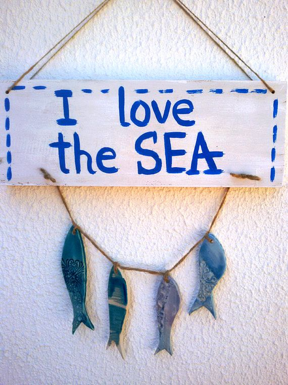 Handmade nautical sign, Ceramic fishes, I love the sea, Blue fishes, Wooden sign, Nautical wall hanging, Sea decoration