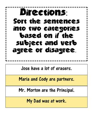 16 best Subject verb agreement images on Pinterest Teaching
