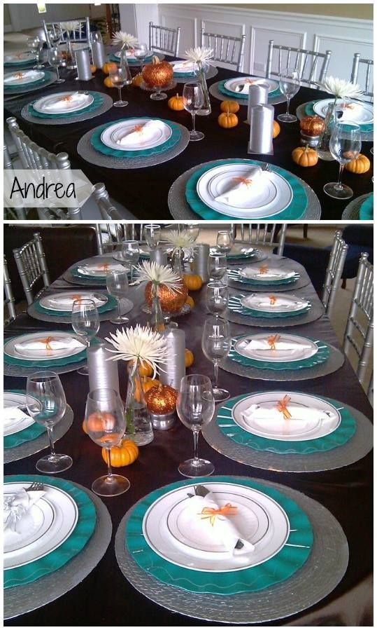 A very smarty teal and orange party using silver-rimmed white #plastic dinner and salad plates from smartyhadaparty.com.