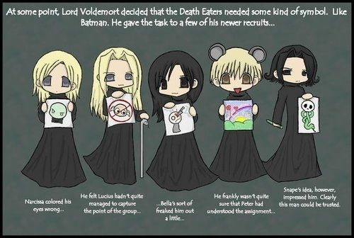 narcissa is dracos mom. lucius is dracos dad. bella is dracos aunt. peter is just a rat dude. snape is a bad guy but turns out to be a good guy.most of these are traitors and related to draco malfoy.