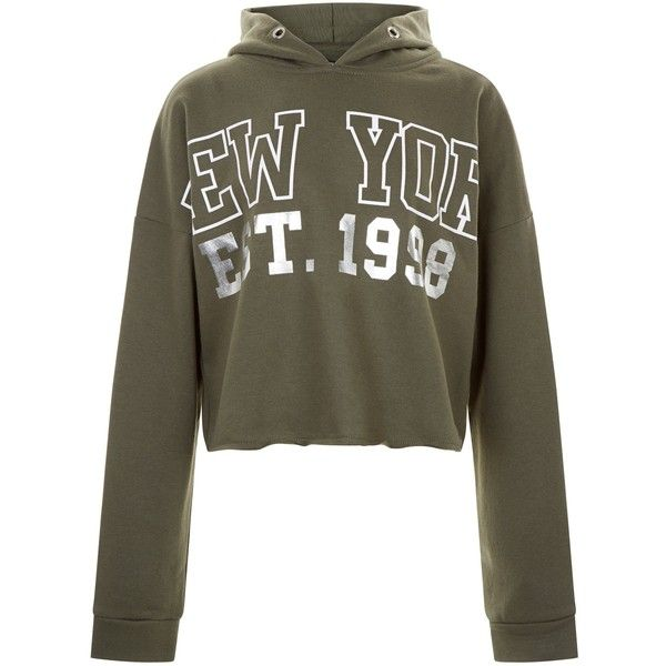 New Look Teens Khaki New York Foil Print Hoodie ($20) ❤ liked on Polyvore featuring tops, hoodies, khaki, hooded sweatshirt, sweatshirt hoodies, khaki top, hoodie top and hooded pullover
